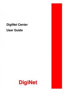 DigiNet Center User Guide. DigiNet