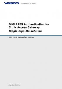 DIGIPASS Authentication for Citrix Access Gateway Single Sign-On solution
