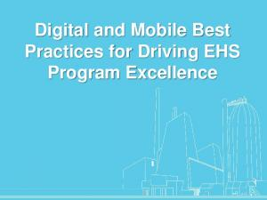 Digital and Mobile Best Practices for Driving EHS Program Excellence