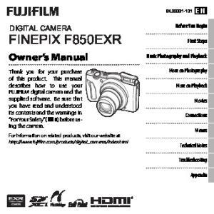 DIGITAL CAMERA FINEPIX F850EXR Owner s Manual