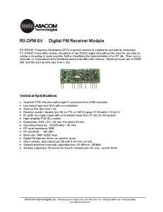 Digital FM Receiver Module