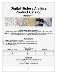 Digital History Archive Product Catalog