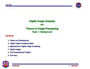 Digital Image Analysis. Theory of Image Processing