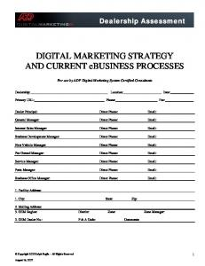 DIGITAL MARKETING STRATEGY AND CURRENT ebusiness PROCESSES