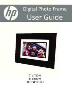 Digital Photo Frame. User Guide. 7 df730v1 8 df840v df1010v1