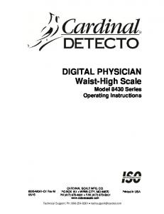 DIGITAL PHYSICIAN Waist-High Scale Model 8430 Series Operating Instructions
