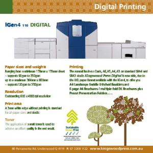 Digital Printing. igen4 110 DIGITAL. Printing. Paper sizes and weights. Resolution. Print area. Toner