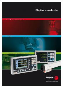 Digital readouts. for milling machines and boring mills. for lathes. for general purpose applications and grinders