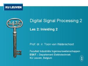 Digital Signal Processing 2