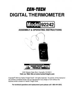 DIGITAL THERMOMETER ASSEMBLY & OPERATING INSTRUCTIONS Mission Oaks Blvd., Camarillo, CA Visit our Web Site at