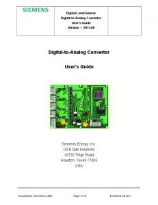 Digital-to-Analog Convertor. User s Guide
