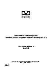 Digital Video Broadcasting (DVB); Interfaces for DVB Integrated Receiver Decoder (DVB-IRD)