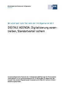 DIGITALE AGENDA: Digitalisierung vorantreiben, Standortvorteil sichern