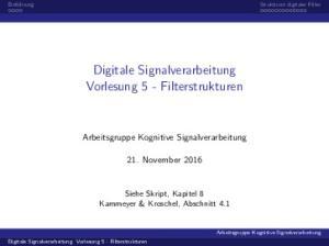 Digitale Signalverarbeitung Vorlesung 5 - Filterstrukturen