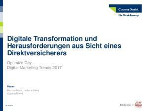 Digitale Transformation und Herausforderungen aus Sicht eines Direktversicherers