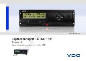 Digitalni tahograf DTCO 1381 Release 1.4  Uputstvo za upotrebu za poduzetnike i vozače