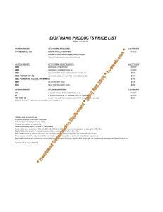 DIGITRAK PRODUCTS PRICE LIST