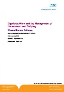 Dignity at Work and the Management of Harassment and Bullying