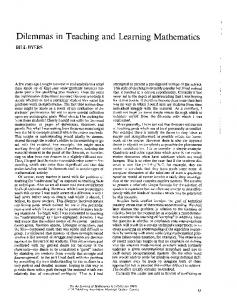 Dilemmas in Teaching and Learning Mathematics