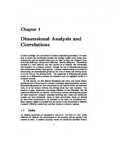 Dimensional Analysis and Correlations