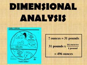 DIMENSIONAL ANALYSIS. ? ounces = 31 pounds. 31 pounds x. = 496 ounces