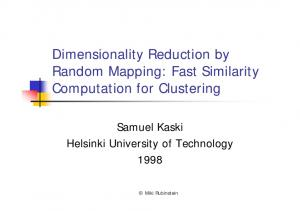 Dimensionality Reduction by Random Mapping: Fast Similarity Computation for Clustering