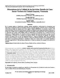 Dimensiones de la Calidad de los Servicios. Estudio de Caso: Sector Turismo de Ciudad Guayana, Venezuela