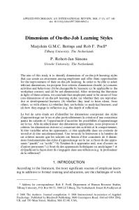 Dimensions of On-the-Job Learning Styles