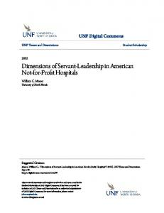 Dimensions of Servant-Leadership in American Not-for-Profit Hospitals