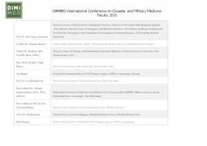 DiMiMED international Conference on Disaster and Military Medicine Faculty 2015