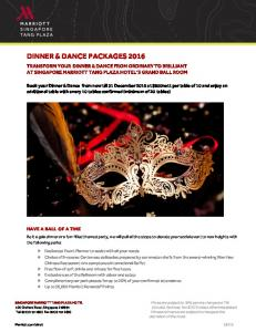 DINNER & DANCE PACKAGES 2016