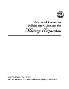 Diocese of Columbus Policies and Guidelines for Marriage Preparation