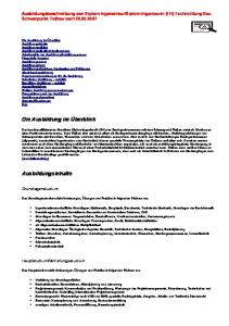 Diplom-Ingenieurin (FH) Fachrichtung Bau Schwerpunkt Tiefbau vom