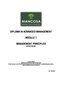 DIPLOMA IN ADVANCED MANAGEMENT MODULE 1 MANAGEMENT PRINCIPLES