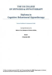 Diploma in Cognitive- Behavioural Hypnotherapy