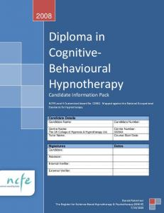 Diploma in. Cognitive- Behavioural. Hypnotherapy