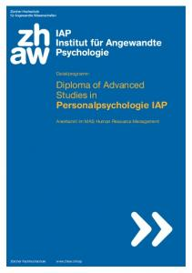 Diploma of Advanced Studies in Personalpsychologie IAP