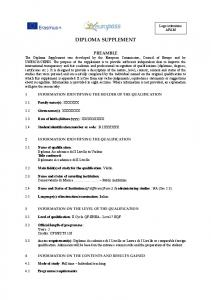 DIPLOMA SUPPLEMENT. 2.4 Name and Status of Institution (if different from 2.3) administering studies : NA (See 2.3)