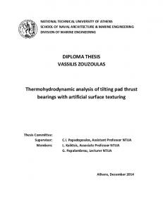 DIPLOMA THESIS VASSILIS ZOUZOULAS. Thermohydrodynamic analysis of tilting pad thrust bearings with artificial surface texturing