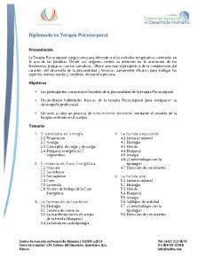 Diplomado en Terapia Psicocorporal