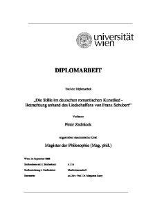 DIPLOMARBEIT. Die Stille im deutschen romantischen Kunstlied - Betrachtung anhand des Liedschaffens von Franz Schubert