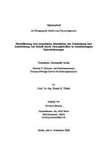 Diplomarbeit. Modellierung und numerische Simulation der Entstehung und Ausbreitung von Schall durch Entropiewellen in beschleunigten Rohrströmungen