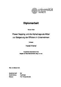 Diplomarbeit. Titel der Arbeit. Power Napping und die AlphaLiege als Mittel zur Steigerung der Effizienz in Unternehmen. Verfasser