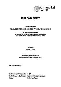 DIPLOMARBEIT. Titel der Diplomarbeit. Schlüsselmomente auf dem Weg zur Gesundheit