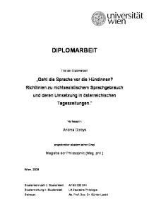 DIPLOMARBEIT. Titel der Diplomarbeit