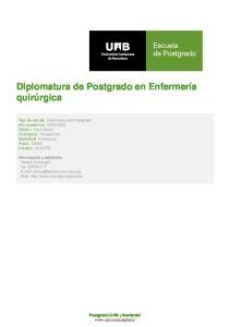Diplomatura de Postgrado en Enfermería quirúrgica