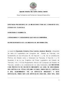 DIPUTADA PRESIDENTE DE LA MESA DIRECTIVA DEL CONGRESO DEL