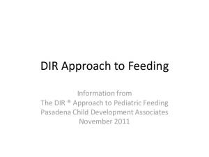 DIR Approach to Feeding. Information from The DIR Approach to Pediatric Feeding Pasadena Child Development Associates November 2011