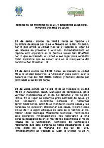 DIRECCION DE PROTECCION CIVIL Y BOMBEROS MUNICIPAL. INFORME DEL MES DE JULIO