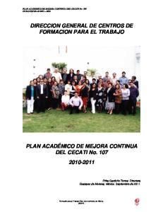 DIRECCION GENERAL DE CENTROS DE FORMACION PARA EL TRABAJO
